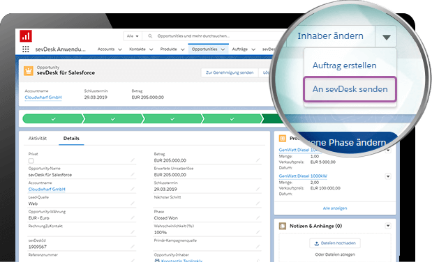 Screenshot von sevDesk Integration in Salesforce