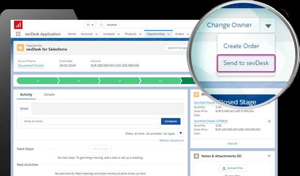 Screenshot of sevDesk Integration for Salesforce