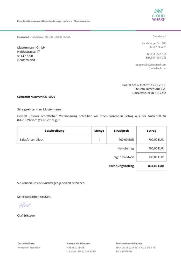 Gutschrift PDF Template