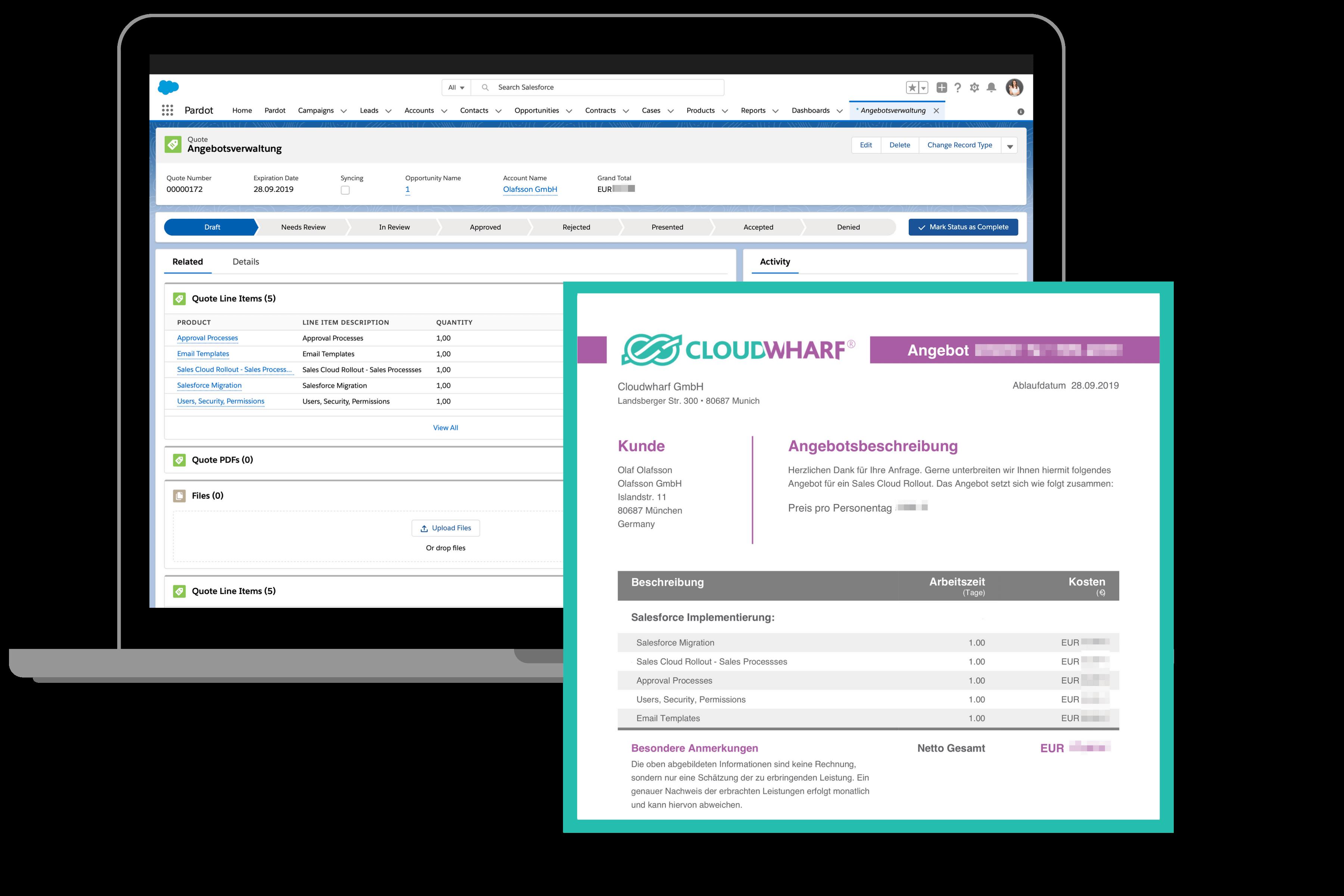 Angebotsverwaltung in Salesforce native Lösung