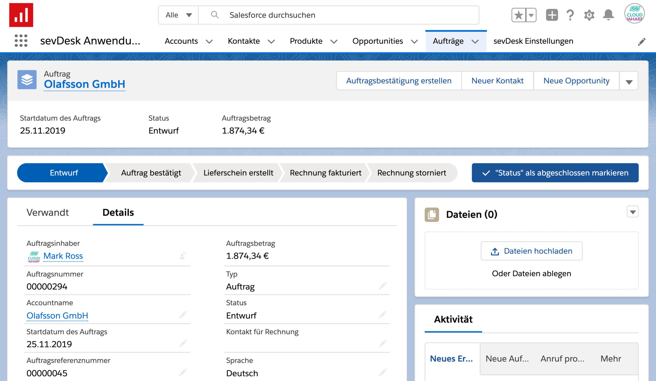 Screenshot der Auftragserfassung und Rechnungsstellung in Salesforce