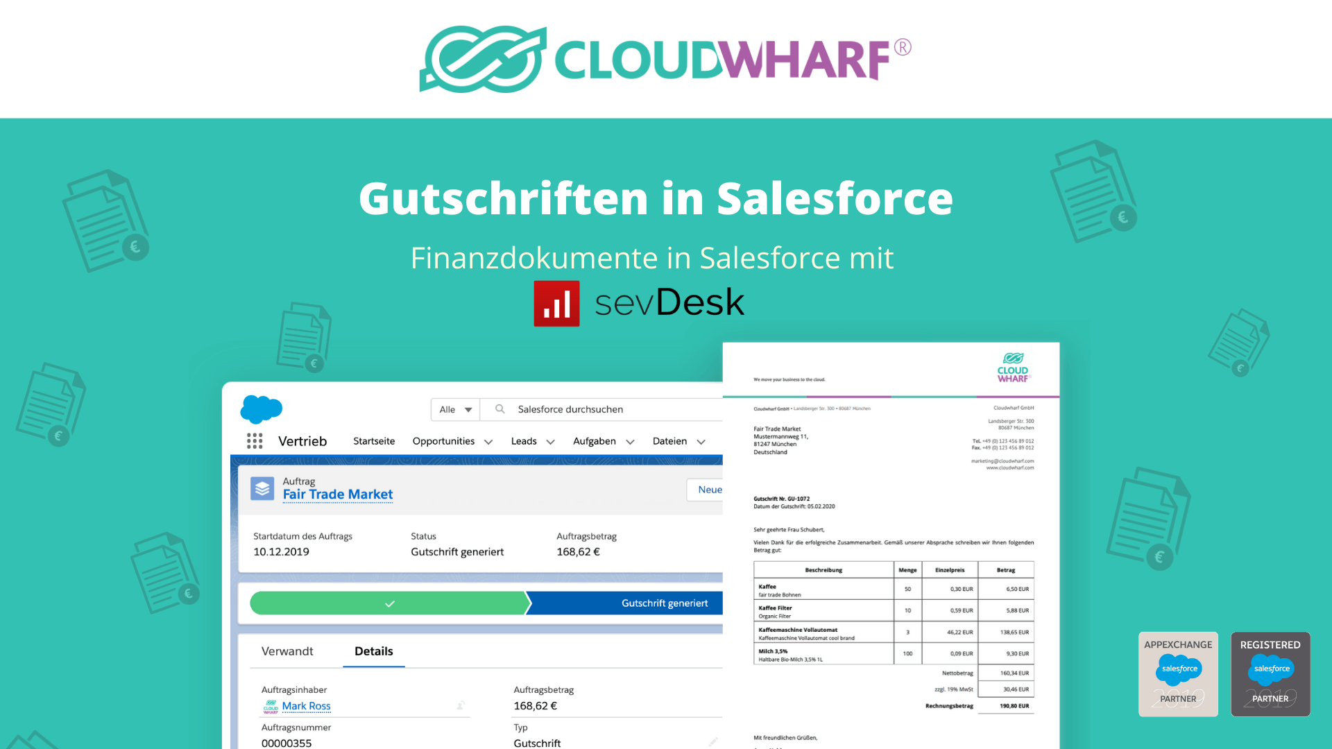 Gutschriften in Salesforce mit sevDesk und Cloudwharf Solutions- Finanzdokumente in Salesforce