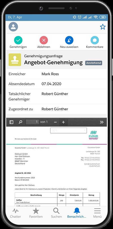 Genehmigungsprozess Mobile Salesforce App: Angebote mit sevDesk Integration