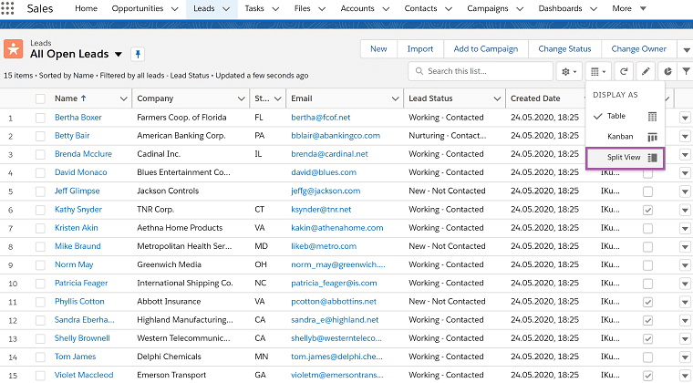 split list view in salesforce after summer release