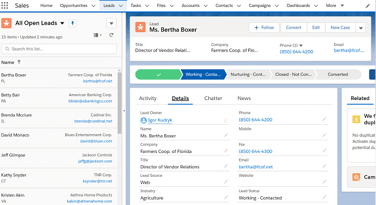 Split List View in Salesforce